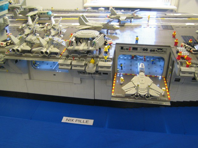Aircraft lift on LEGO aircraft carrier