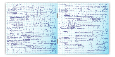 Notebook filled with diagrams, equations and other clever things